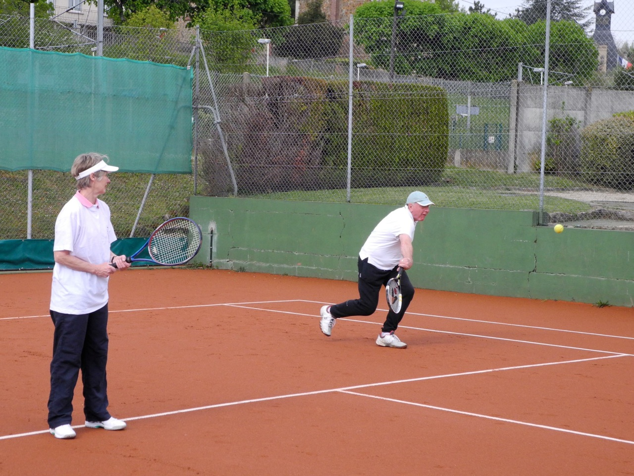 Pat Duke in action (or should that be 'inaction'?) on her way to winning the tennis tournament